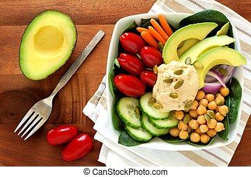 houten, etentje, hummus, groentes, fris, scène, avocado, gezonde , tafel, kom, bovengronds