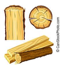 houten, materiaal, hout, plank