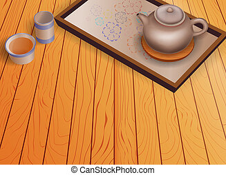 houten, set, theepot, vloer