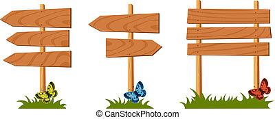 houten, set, vector, meldingsbord