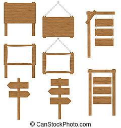 houten, vector, raad, tekens & borden