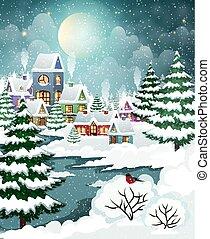 huisen, bos, landscape, winter