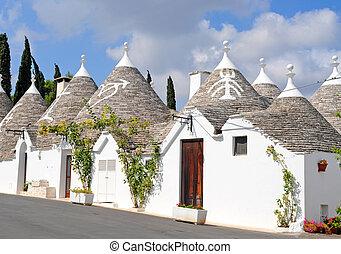 huisen, geverfde, italië, symbolen, daken, trulli, alberobello, apulie, kegelvormig