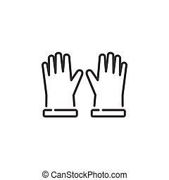 icon., vector, illustratie, gloves., schets, kleren, tuinieren