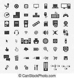 iconen, computer, set., illustratie