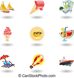 iconen, glanzend, zomer