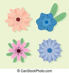 iconen, lente, set, bloemen, bundel, vier