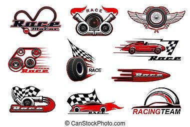 iconen, motorsport, vector, het snelen, auto