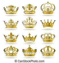 iconen, set, gouden kroon
