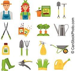 iconen, tuinman, gereedschap, set, plat, accessoires
