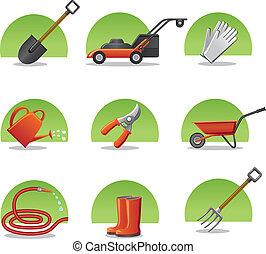 iconen, web, tuinieren gereedschap