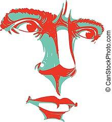 iemand, vector, kunst, mensen, dit, tekening, nee, het beschuldigen, uitdrukkingen, emotions., gezichts, verticaal, good., man