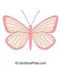 illustratie, beauty, ontwerp, logo, vlinder, studio, valentijn, stripes., s, dag, begroetende kaart, vleugels, delicaat, salon, of, vrouwlijk, witte , kapper, achtergrond., roze, vector, mal, insect