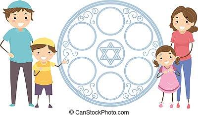 illustratie, gezin, stickman, schaaltje, joodse , passover