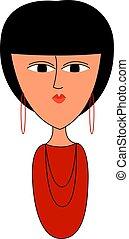 illustratie, hemd, achtergrond., vector, meisje, wit rood