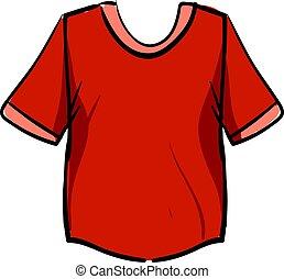 illustratie, hemd, achtergrond., vector, wit rood