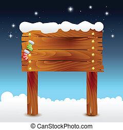 illustratie, hout, kerstmis, achtergrond