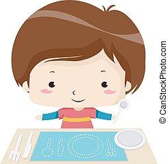 illustratie, jongen, blanks, vullen, geitje, gereedschap
