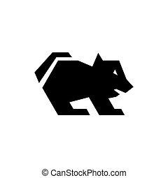 illustratie, logo, duivel, tasmaniër, silhouette, pictogram, vector
