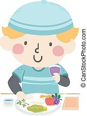 illustratie, passover, jongen, schaaltje, geitje, voedingsmiddelen