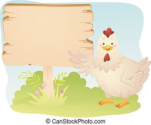 illustratie, plank, chicken, landbouw, vogel, mascotte