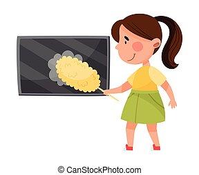 illustratie, stof afnemen, tv scherm, meisje, vector, set, weinig; niet zo(veel)