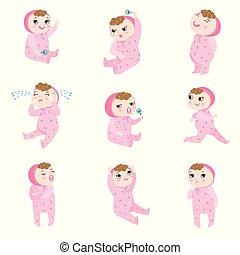 illustratie, style., emoties, situations., vector, spotprent, roze, pajama, baby, anders, schattig, plat, set