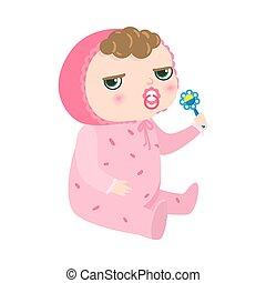 illustratie, style., rattle., vector, serieuze , spotprent, vasthouden, roze, pajama, kinky-haired, baby pacifier, plat, zittende