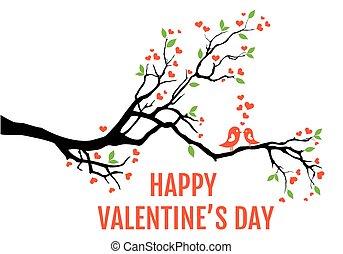 illustratie, tak, boompje, hartjes, liefdevogels, bladeren, vector