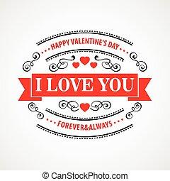 illustratie, valentijn, achtergrond., vector, typographical, dag, vrolijke