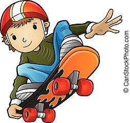 illustratie, vector, skateboarder
