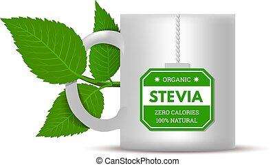 illustratie, vector, witte , stevia, achtergrond., bladeren, mok