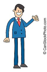 illustratie, vector, zakenman status, vrolijke , spotprent