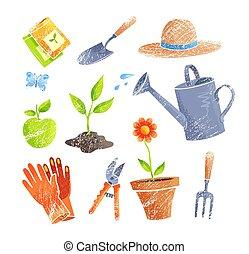 illustraties, tuinieren, vector, items