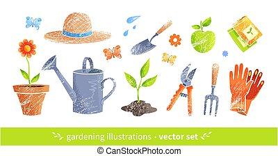 illustraties, uitrustingen tuinierend, vector