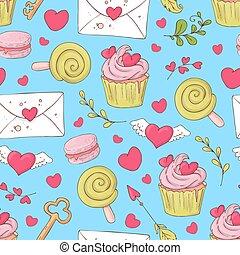 illustration., cupcakes., model, straat., seamless, valentijn, s, vector, dag