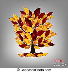 illustration., kleurrijke, boompje, leaves., herfst, vector