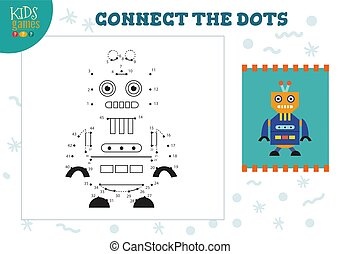 illustration., preschool, vector, onderwijs, spel, punt, activiteit, geitjes, kinderen