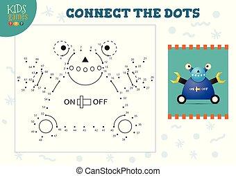 illustration., preschool, vector, tekening, spel, punt, activiteit, geitjes, kinderen