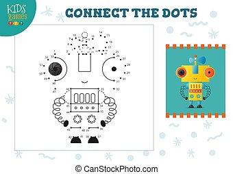 illustration., preschool, vector, verbinden, punten, mini, spel, activiteit, geitjes, opleiding, kinderen
