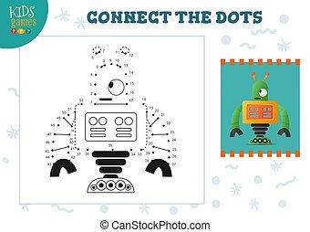illustration., preschool, vector, verbinden, punten, spel, activiteit, geitjes, opleiding, kinderen