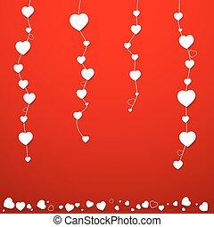 illustration., valentines, vector, hearts., dag, kaart