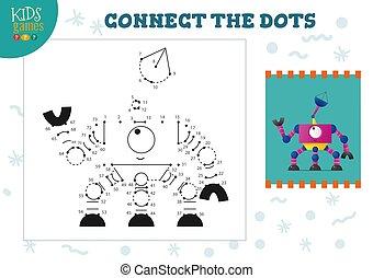 illustration., vector, verbinden, punten, onderwijs, kleuterschool, spel, activiteit, geitjes, kinderen