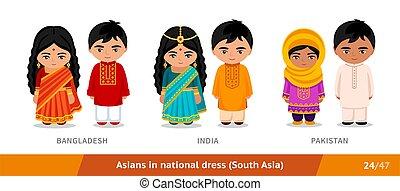 india, ethnische , pakistan., nationale, clothing., set, dress., aziatische mensen, bangladesh, mannen, vervelend, vrouwen