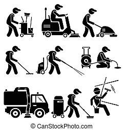 industriebedrijven, cliparts, arbeider, poetsen