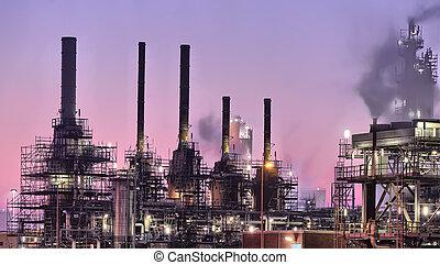 industriebedrijven, scène, nacht