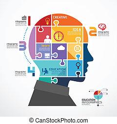 infographic, hoofd, concept, jigsaw, illustratie, vector, mal, spandoek