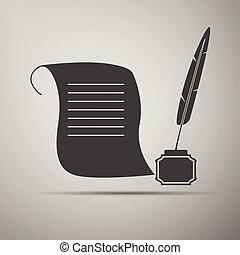 inkwell, pen, papier, icon., boekrol, slagpen