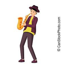 instrument, vector, illustratie, saxophonist