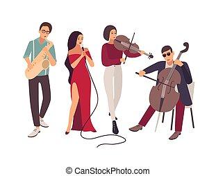 instrumenten, elegant, blues, het zingen, concert., vrijstaand, achtergrond., muziek, witte , toneel, plat, jazz, lied, mannen, band, gedurende, spotprent, vrouwen, illustration., gedresseerd, of, vector, spelend, muzikalisch